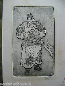A Korean Warrior Etching on Paper