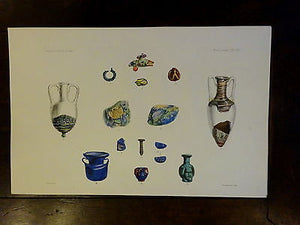 Antique Lithograph c 1903 Ancient Glass Archaeology XIV