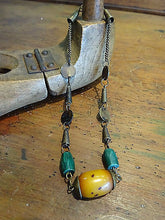 A Tribal Necklace Choker Faux Amber, Malachite & Bronze