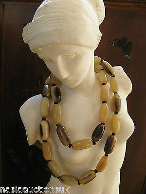 Beautiful Art Deco Polished Antler Horn Long Necklace Barrel Shaped Beads