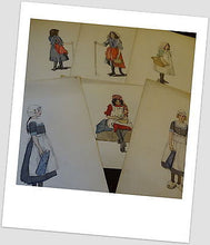 6 Early 20th Century Watercolour/Gouache Studies of Girls in Costume Pictures