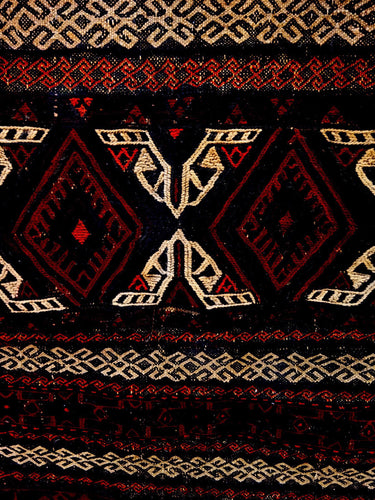 Authentic Antique Tribal Baluch Jajim Soumak Reduced Rug