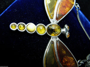 An Art Deco Amber Dragonfly Necklace