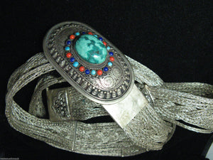 Fabulous Vtg Woven Silver Mesh Tibetan? Belt Buckle Turquoise Lapis Coral Beads