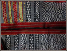Early to mid 20th C Geometric Woven Vietnam Hill Tribes Hmong Rug Throw Cotton