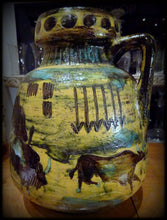 Unusual Large West German Pottery Jug Vase American Indians Bison Fat Lava