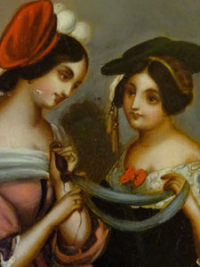 A 19th Century Oil on Tin-Young Ladies