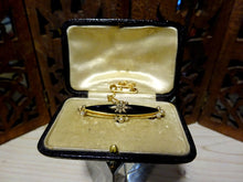 Antique Victorian Gold & Seed Pearl Onyx Mourning Brooch in original Leather Box