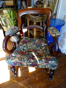 Antique William IV Mahogany Open Armchairs Liberty Upholstery
