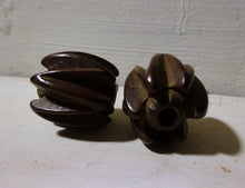 Pair of Rare Antique Hand Carved Large Hardwood Beads Ojime Asian Chinese
