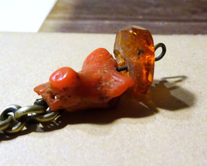 Antique Tibetan Hair Ornament with Coral & Amber