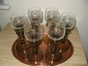 A delightful Set of 6 early 20thc Roemer Hock Etched Wine Glasses applied Prunts