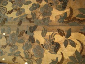 Fab Antique Chinese Gold Silk Thread Embroidery Sleeve Band Panel Birds Moths