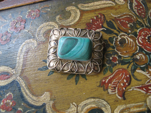 Vintage Modernist Bauhaus Perli Malachite & 800 Silver Brooch Germany