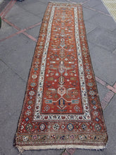 Antique late 19th C Handmade Woollen Hand Knotted Persian Karaja? Runner