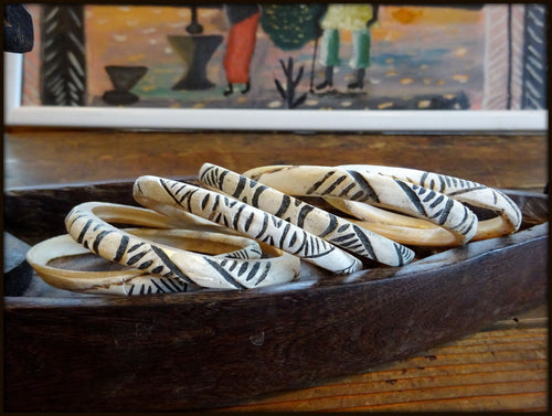 A Set of Six Vintage Tribal Dowry Currency Stained Carved Shell Bangles Papua