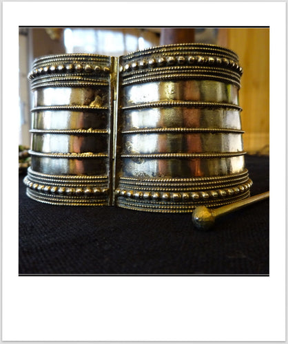Beautiful Old Tribal Bangle Cuff Bracelet Metal Alloy India Rajasthan Gujarat