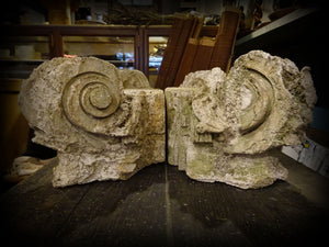 Architectural Salvage Ionic Capitals Weathered Limestone? Garden Porch Deco