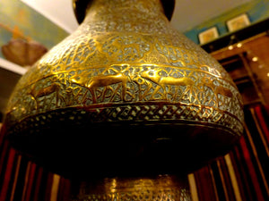 Superb Example of Middle Eastern Metalwork Brass Mosque Lamp Script 19th Century
