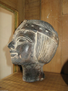 An Antique circa 1900 Egyptian Female Head Stone Sculpture