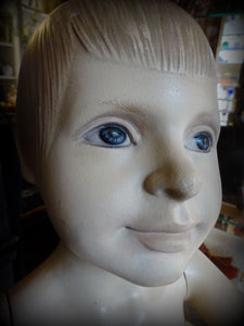 Vintage Plaster Boy Mannequin Moving Arms/Wrists Blue Eyes