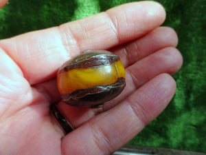 "A pair of Tribal ""Amber"" Copal & Solid Silver Beads Tibet?"