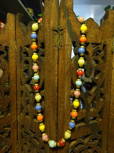 Beautiful Art Deco Czech Glass & Brass Fruit Salad Choker Necklace