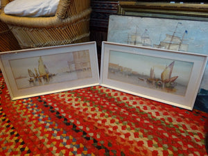 A Pair of Antique c 1900 Venice Grand Canal Watercolours