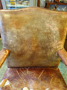Antique Library Gentleman's Showframe Elbow Armchair Leather Upholstery
