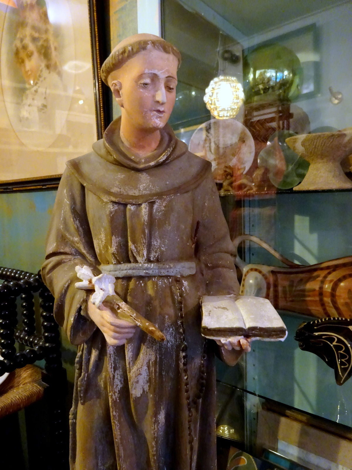 A 19th Century Italian Polychrome Chalkware Figure of St Anthony