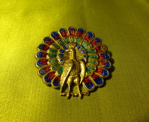 Art Deco Enamel on Brass Peacock Multicoloured Pin Brooch