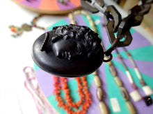 Antique Victorian Vulcanite Mourning Necklace with Cameo Locket