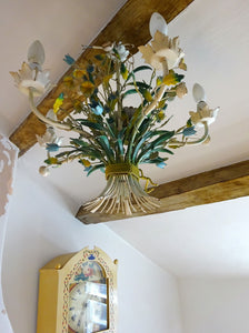 Delightful Vintage French Metal Toleware Chandelier Bouquet of Flowers