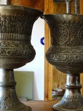 Pair of Persian Tinned Copper Goblet Pots