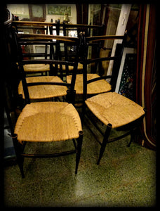 A Set of Four Mid 20th Century Italian Designer Dinning Chairs