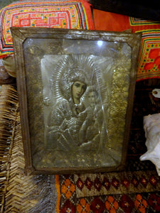 A Tin Madonna & Child Icon