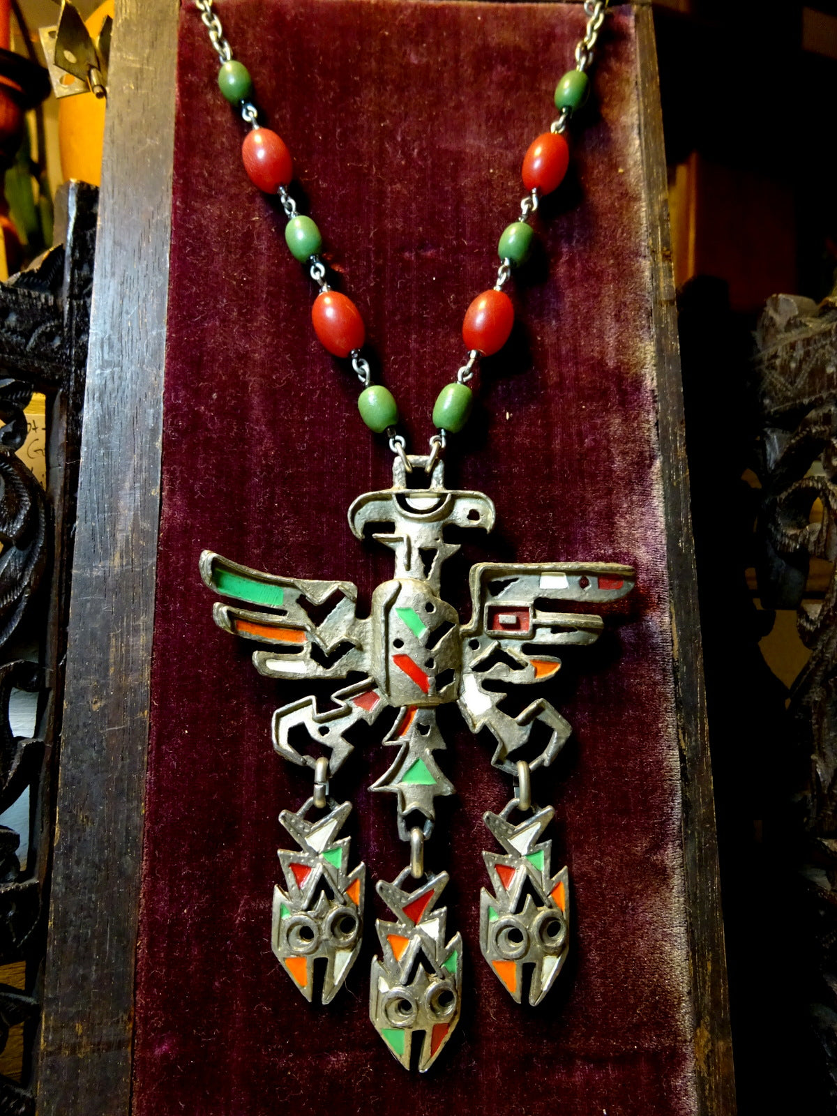 Beautiful Vintage Aztec Revival Statement Necklace