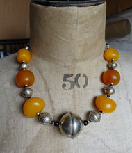 North African Berber Moroccan Copal Amber & Silver Beads Necklace