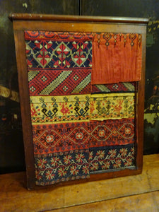 Antique 19th Century Greek Macedonian/Balkan Embroideries Sampler Textile Framed