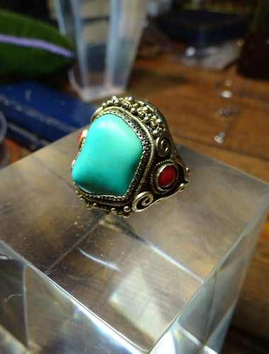 Chinese Silver Gilt Ring with Coral & Turquoise