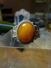 A Chinese Amber & Silver Filigree Ring