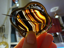 A Large Victorian Banded Agate Brooch