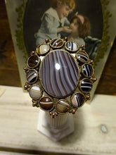 A Very Large Victorian Banded Agate Rolled Rose Gold Flower Brooch