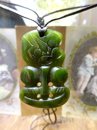 Antique/Vintage Large New Zealand Nephrite Jade Tiki Pendant