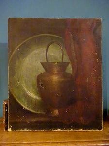 An Antique Oil Still Life on Canvas Distressed