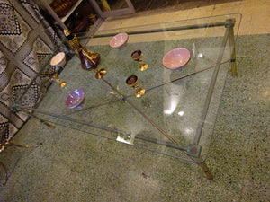 A Mid Century Glass & Brass Neoclassical Coffee Table
