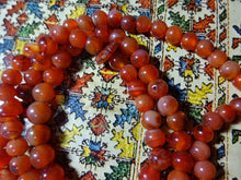 ANTIQUE TIBETAN Nan Hong Pema Raka CARNELIAN AGATE BEADS BUDDHIST MALA NECKLACE