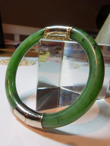 Chinese Nephrite Jade & Yellow Metal Hinged Bangle