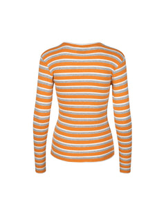 1x1 Stripe Stripe Tuba, Orange/Grey Melange