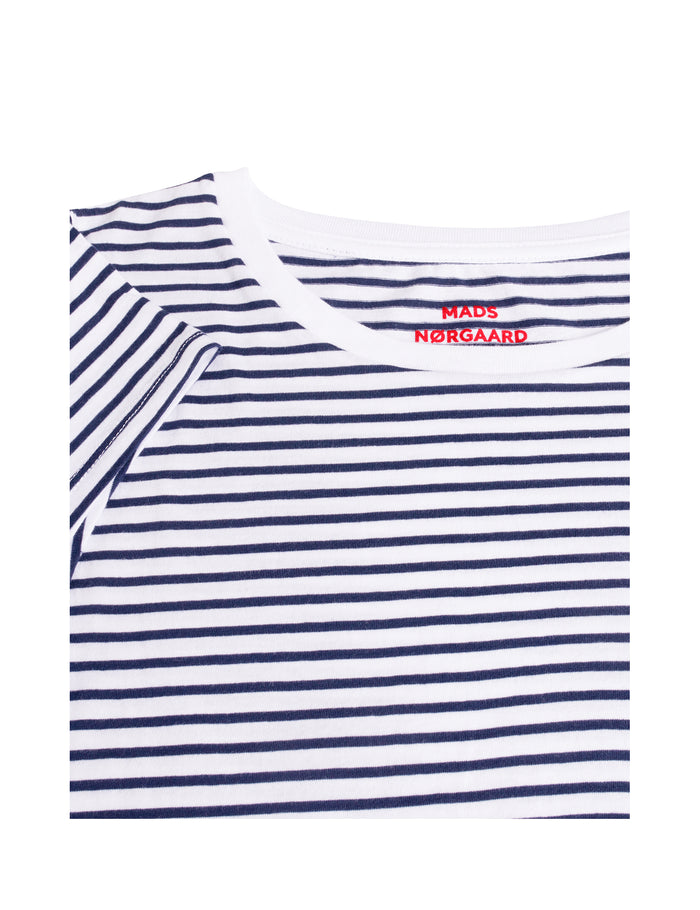 Organic Favorite Stripe Teasy, White/Navy
